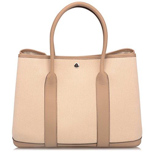 Ainifeel Women's Genuine Leather Top Handle Handbag Shopping Bag Tote Bag (Taupe(leather+canvas)) by Ainifeel (Image #2)