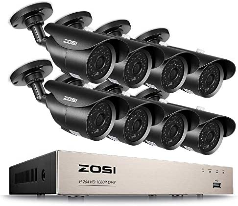 ZOSI FULL 1080P HD-TVI 8CH Security Camera System, ,8 Channel 4-in-1 Home Surveillance DVR and 8 HD 2.0MP 1920TVL Outdoor Indoor CCTV Cameras, ,42pcs IR Leds 120ft night vision, NO Hard Drive