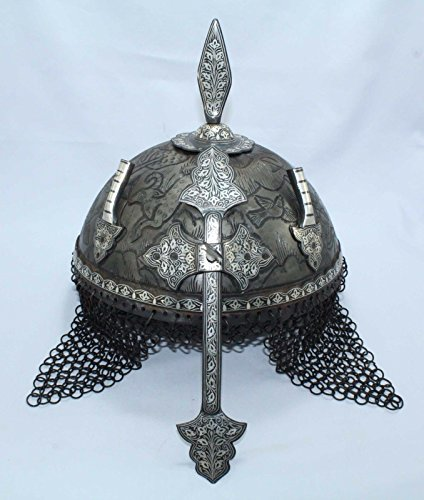 Decorative Medieval Swords Art - Rajasthan Gems Islamic Mughal Rajput Knight Engraved Vintage Steel Armour Shield Helmet/Silver Wire Handwork Ancient Medieval Antique Crusader Chainmail Collectible-Home Decor