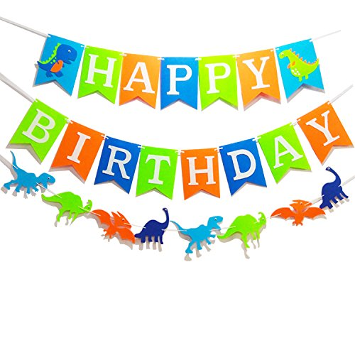 Seasons Stars Dinosaur Happy Birthday Banner( Assembled) with White Letters,Dino Birthday Colorful Felt Banner, Dino Jungle Jurassic Garland photo props For Kids Birthday Dinosaur Party Supplies by Seasons Stars
