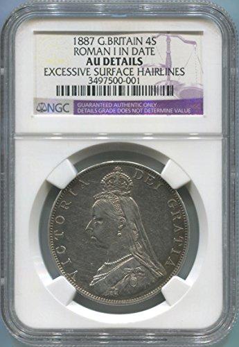 1887 UK 4 Shillings Double Florin AU Details NGC