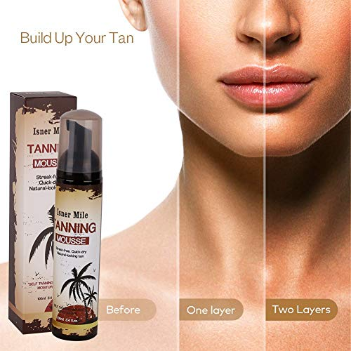 Self Tanning Mousse, Long Lasting Sunless Tanning Mousse - Glow Instant Self Tanner Bronzing Mousse to Tan Skin, Nourishing Skin Self Tanning Mousse Medium Skin Care