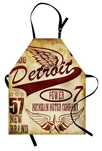 Ambesonne Detroit Apron, Vintage Elements Michigan Company Free Wings Transport Auto Show Themed, Unisex Kitchen Bib Apron with Adjustable Neck for Cooking Baking Gardening, Yellow Burgundy