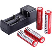 4 Pack Batteries and A Charger,18650 Li-ion 3.7V - Applicable for High-power LED by Deruicent