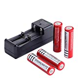 4 Pack Batteries and A Charger,18650 Li-ion 3.7V – Applicable for High-power LED by Deruicent