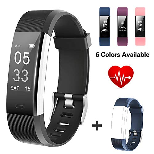 Lintelek Fitness Tracker, Big Screen Activity Tracker with Heart Rate Monitor, Waterproof Smart Band, Pedometer Fitness Watch for Women, Business and Sporty Men
