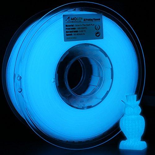 (AMOLEN 3D Printer Filament, Glow in The Dark Blue PLA Filament 1.75mm +/- 0.03 mm, 1KG/2.2lb, Includes Sample Marble Filament - 100% USA)