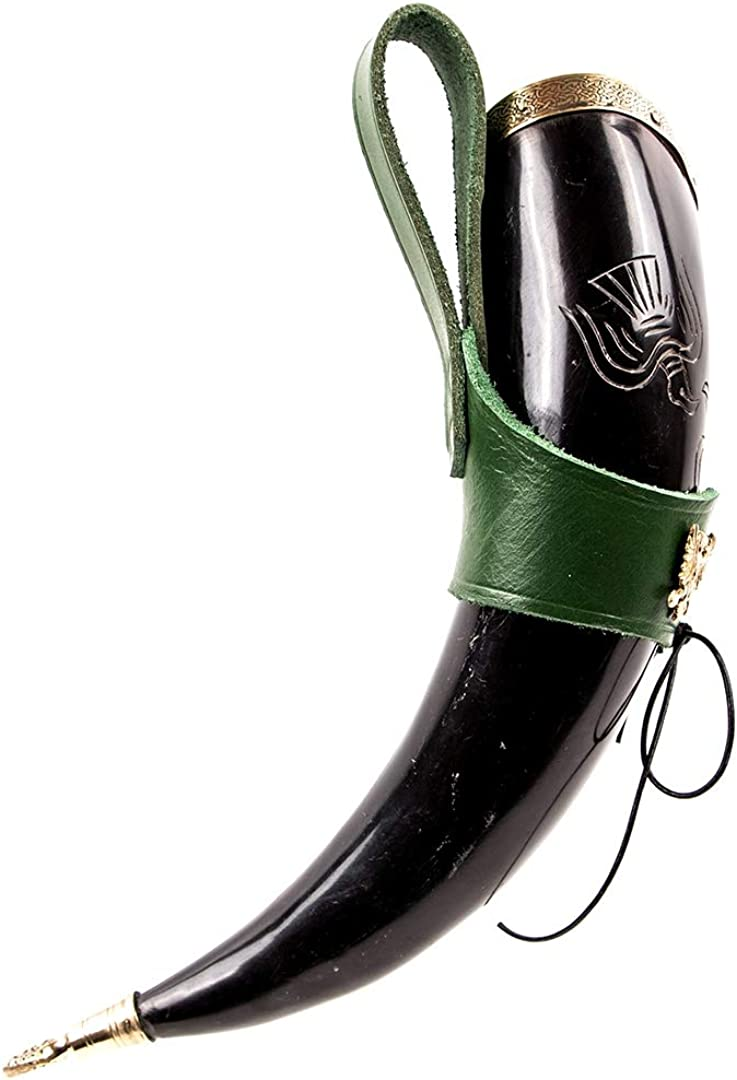 Mythrojan The Bird of Prey Viking Drinking Horn with Leather Holder Polished Finish