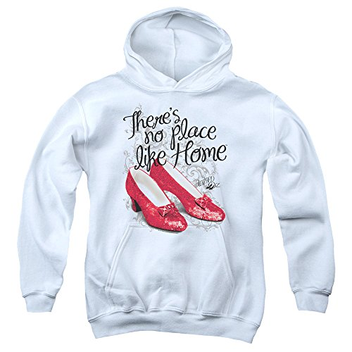 Wizard Of Oz Ruby Slippers Big Boys Youth Pullover Hoodie (White, Large)