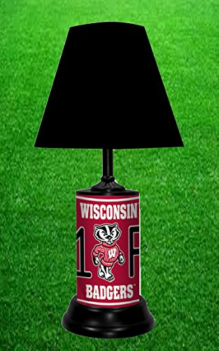WISCONSIN BADGERS NCAA LAMP - BY TAGZ (Wisconsin Metal Table Lamp)