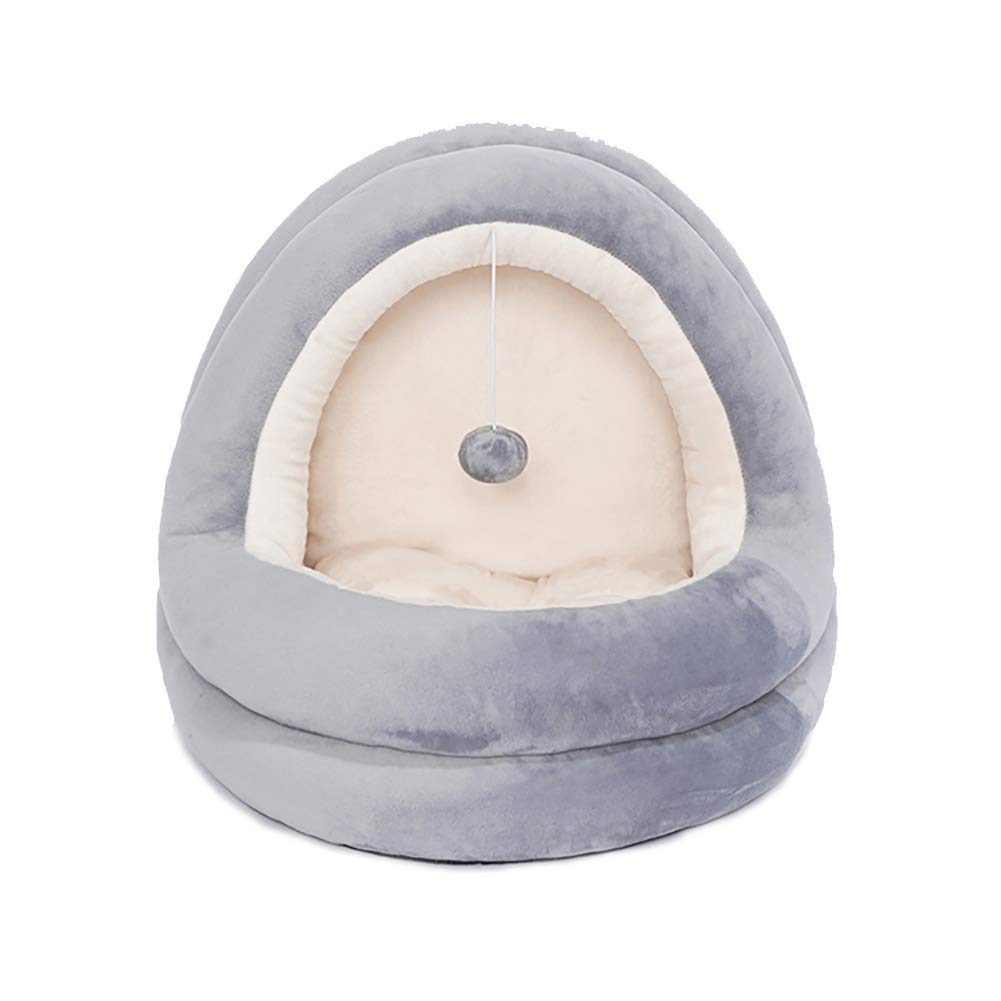 Grey+Beige 424038cm Grey+Beige 424038cm Pet Bed Luxury Hooded Cosy Winter Cats or Dogs Super Soft House for Pets Deep Sleep (424038cm, Grey+Beige)