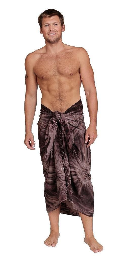 1 World Sarongs Mens Premium Embroidered Tie Dye Sarong SARONG-MEN-PT-EMB-TDYE-YELLOW