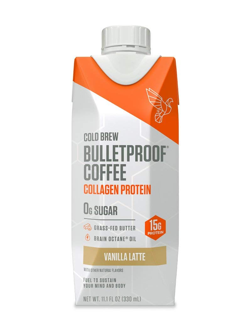 Bulletproof Cold Brew Coffee, Keto Friendly, Sugar Free, with Brain Octane Oil and Grass-fed Butter (Coffee + Collagen, Vanilla)