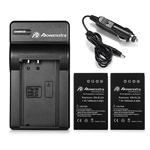 Powerextra 2x EN-EL20a Replacement Battery & Car Charger Compatible with Nikon Coolpix P1000, DL24-500, Nikon1 J1, J2, J3, Nikon1 S1, Nikon1 V3, Nikon Coolpix A, Nikon1 AW1, Blackmagic Pocket Cinema