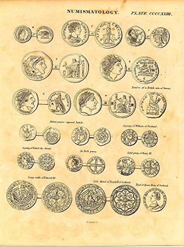 Numismatics early British coins & medals c.1820 fine antique engraved print