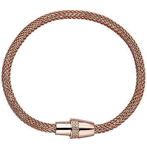 Jobo Bracelet 925Argent Plaqué Or Rouge avec fermeture magnétique 42Zirconium et 19cm