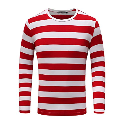 OThread & Co. Men's Long Sleeve Striped T-Shirt Basic Crew Neck Shirts (Small, - White And Red Striped Shirt