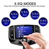 "Nulaxy Bluetooth FM Transmitter for Car, 1.8"" Color Screen Wireless Radio Adapter Handsfree Car Kit with QC3.0 & 5V/2.4A Charging, Support USB Drive, microSD, Aux, EQ, Car Battery Reading- KM29 Black"
