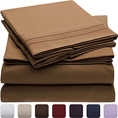 Mellanni Bed Sheet Set - Brushed Microfiber 1800 Bedding - Wrinkle, Fade, Stain Resistant - Hypoallergenic - 4 Piece (King, Mocha)
