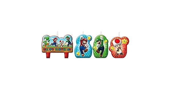 Amazon.com: Super Mario Vela de cumpleaños set: Home & Kitchen
