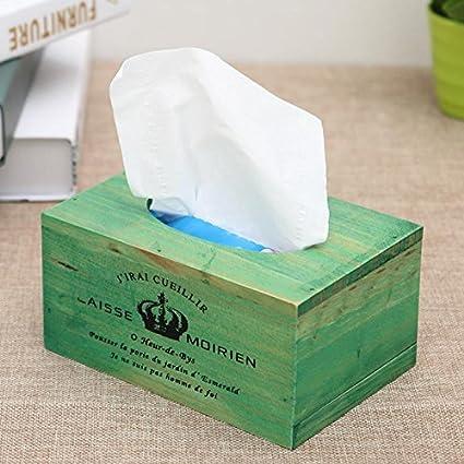 DEBON Caja de pañuelos de madera vintage retro rústico servilletero organizador de almacenamiento para cocina,