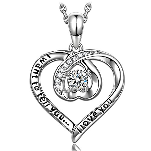ANGEL NINA I Want To Tell You I Love You Hand Crafted Hypoallergenic S925 Sterling Silver Zircon White Gold Plated Heart Pendant Necklace Anniversary Valentines Birthday Gifts Box for Girlfriend (Confession Box Costume)