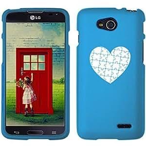 LG Optimus L90 D405 D410 D415 Snap On 2 Piece Rubber Hard Case Cover Heart Puzzle Autism (Light Blue)