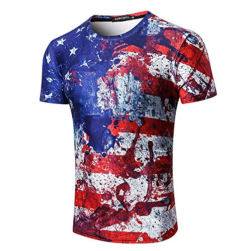 Independence Day Short Sleeve for Men, MmNote Full Body Flag Print Fashion Slim Stretch Cool Quick Classic Short Sleeve