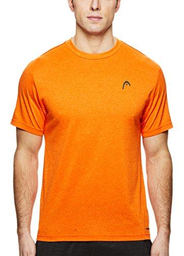 Team Tee Tennis - HEAD Men's Crewneck Gym Training & Workout T-Shirt - Short Sleeve Activewear Top - Olympus Red Orange Heather, 2X