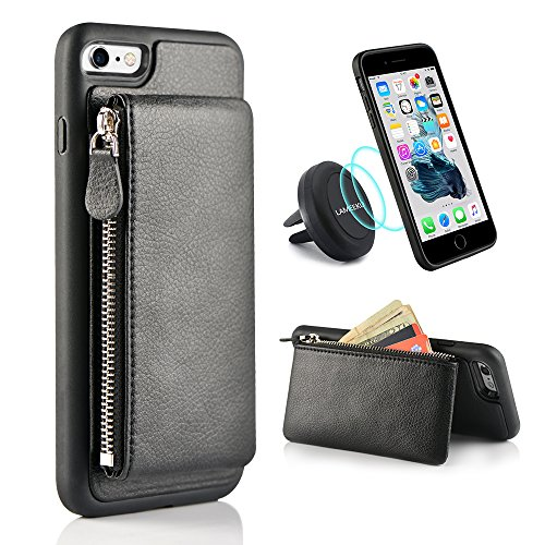 iPhone 6S Plus Wallet Case, iPhone 6 Plus Card Holder Case, LAMEEKU Shockproof Leather Case with Detachable Card Pockets, Protective Kickstand Cover for Apple iPhone 6 Plus/6S Plus 5.5