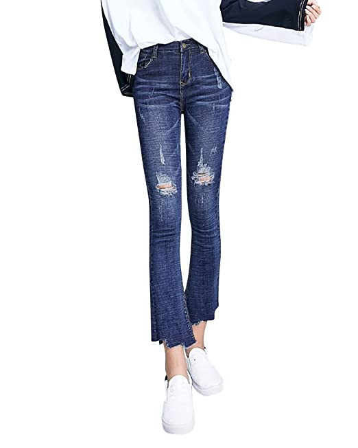 Mujer Jeans Acampanados Estilo Vintage Slim Fit Pantalon Vaqueros Rasgados Azul 2XL