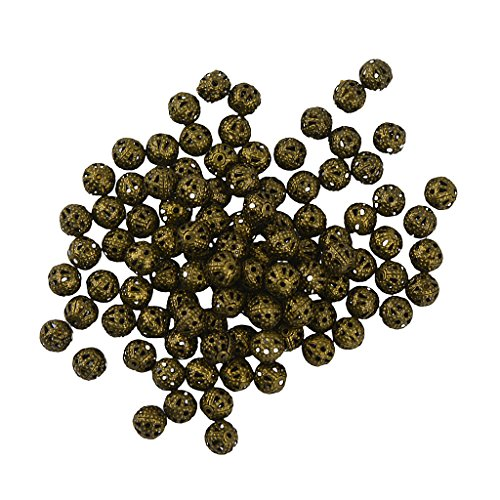 ollow Filigree Round Metal Charms Beads Jewelry Findings Bronze - Bronze, 8 ()