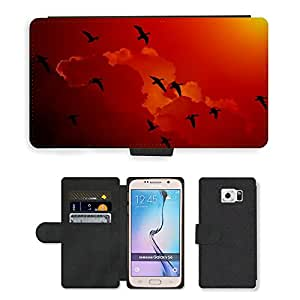 Super Stella Cell Phone Card Slot PU Leather Wallet Case // M00146530 Wild Geese Migratory Birds Geese Sky // Samsung Galaxy S6 (Not Fits S6 EDGE)