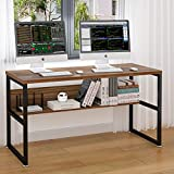 ELEGANT 55'' Computer Desk with Bookshelf/Metal Desk(Oak Brown+Black Frame)