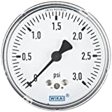 WIKA 9851836 Capsule Low Pressure Gauge, Dry-Filled, Copper Alloy Wetted Parts, 2-1/2