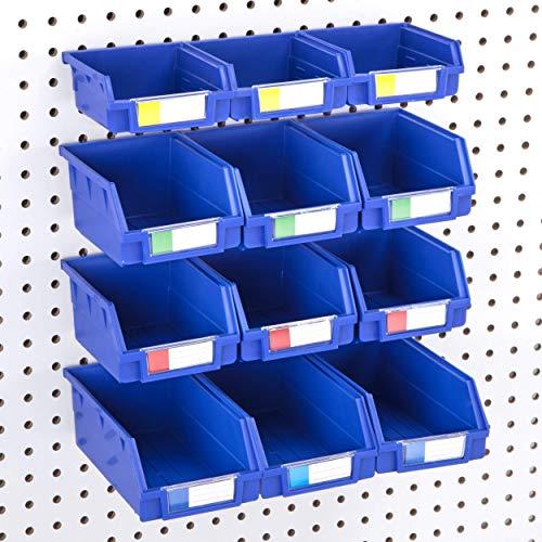 Pegboard Bins - Set of 12 - Hooks to 1/4