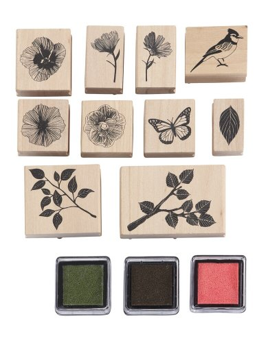 Martha Stewart Crafts Wooden Rubber Stamp Set, Nature
