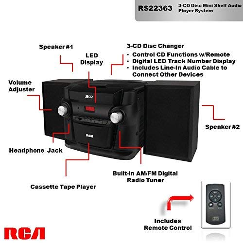 RCA (RS22363) 3-Disc CD Stereo Audio Shelf System - Digital AM/FM Tuner with Station Memory and Line-in Connectivity by RCA