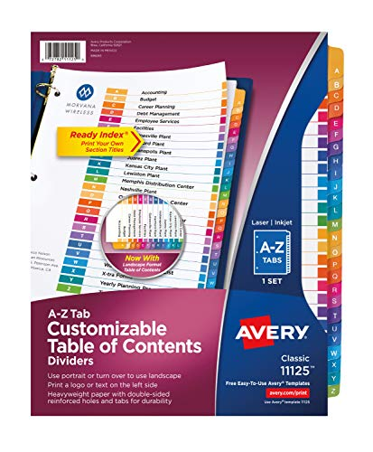 Avery A-Z Tab Dividers for 3 Ring Binders, Customizable Table of Contents, Multicolor Tabs, 12 Sets (11125) (Avery 26 Tab Dividers)