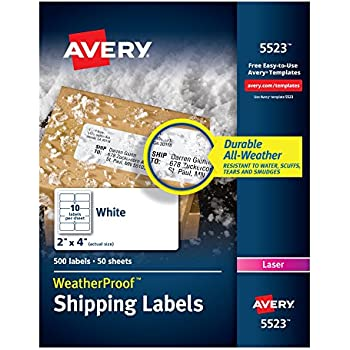 Avery weatherproof laser shipping labels 2 for Avery template 5523