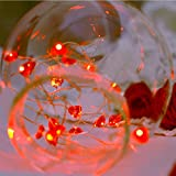 String Lights, Naladoo 1Pcs 3M 30 LED Red Heart-Shaped Battery Copper Wire Lamp String Festival Holiday Party Bedroom Living Home Decor