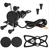 Anxingo Motorcycle Cell Phone Holder Mount With USB Charger Waterproof Handlebar Mirror Accessories X Grip Universal for Iphone Samsung Galaxy Note GPS Mobile Phone