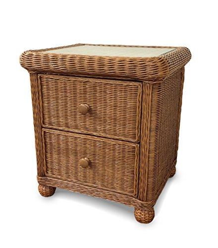 Wicker Paradise GA102H Elanamar Designs Natural Wicker on a Wood Frame, 2 drawer nightstand, (2 Drawer Wicker Nightstand)