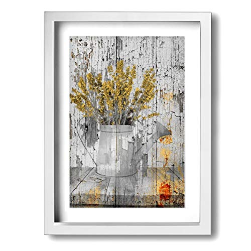 Yellow Plant Brown Farmhouse Kitchen Watering Can Modern Wall Art Canvas Framed Paintings Home Decor Wall Pictures Ready To Hang 12X16