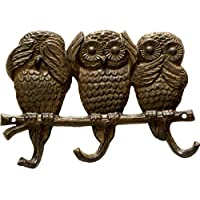 """Owls - See, Hear, Speak No Evil   Decorative Cast Iron Wall Hook Rack   Vintage Design Hanger with 3 Hooks   For Coats, Hats, Keys  Wall Mounted   9 x 2 x 6""""- With Screws And Anchors"""