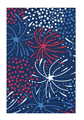 Round Red Vinyl - Patriotic Fireworks PEVA Vinyl Tablecloth Red White and Blue Flannel Backed (60 Round)