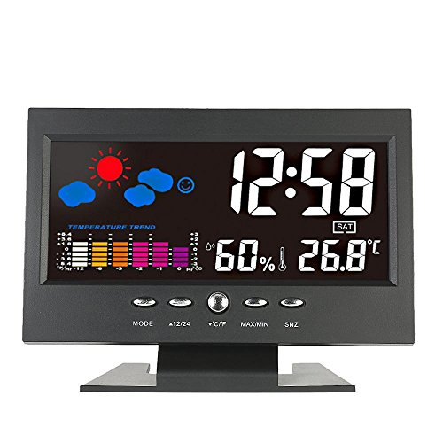 Loskii DC-000 Digital Wireless Colorful Screen USB Backlit Weather Station Thermometer Hygrometer Alarm Clock Temperature Gauge Calendar Vioce-Activated -