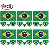 2018 World Cup FIFA National Flags Tattoo, Fashionable Temporary Brazil Flags Tattoo Face Body Sticker for Soccer Fans Watching Football Sports Game 6 Sheets