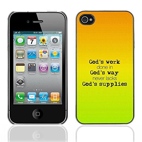 DREAMCASE Citation de Bible Coque de Protection Image Rigide Etui solide Housse T¨¦l¨¦phone Case Pour APPLE IPHONE 4 / 4S - GOD'S WORK