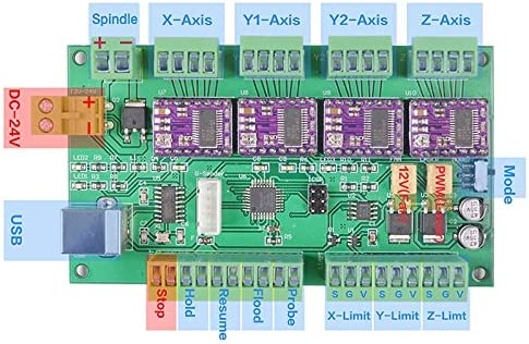 Controlador Fuera de L/íNea Control de 3 Ejes Escudo CNC Puerto USB GRBL 1.1 Monland Tablero de Control de la M/áQuina de Grabado CNC